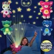 Animais de pelúcia com projetor de luz na barriga confortante brinquedo de pelúcia luz da noite filhote de cachorro estrela barriga sonho lites natal