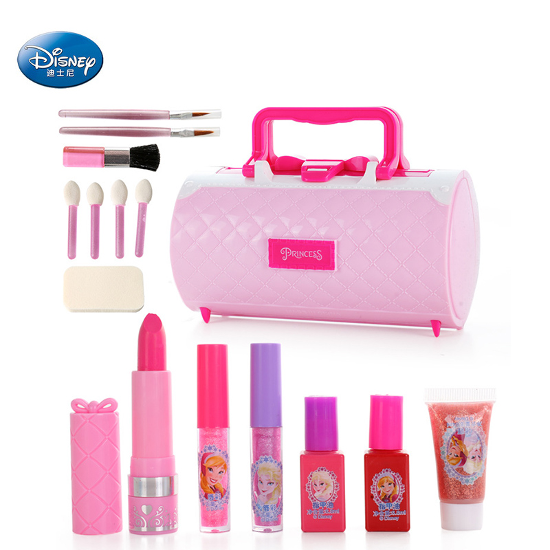 Disney Girls Princess Frozen Elsa Anna Snow White Make Box Set Safety Non-toxic Lipstick Cosmetic  Pretend Toys Kids  Gift