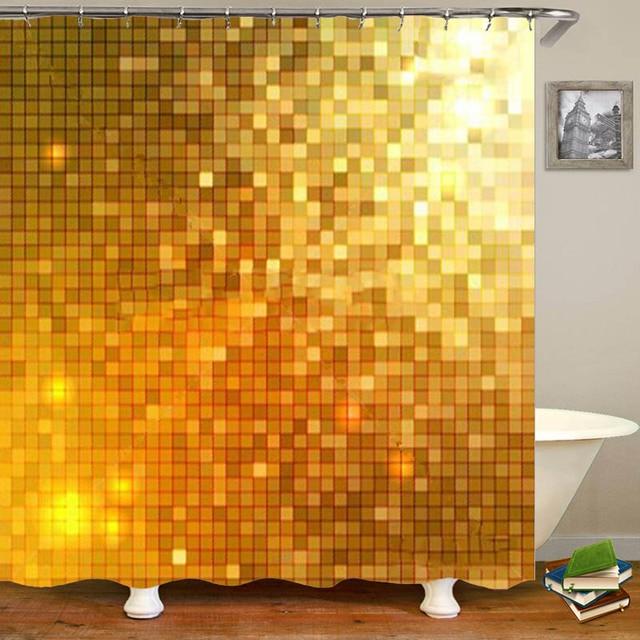 stylish gold shiny sparkle glitter curtains for bath waterproof mosaic bathroom shower curtain set bathtub golden metallic decor
