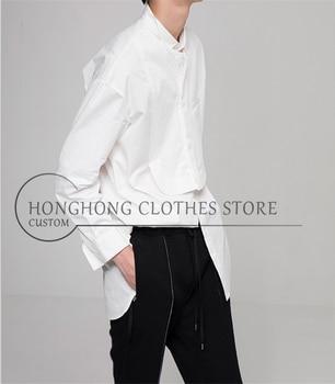 New style hair stylist long sleeve shirt men's loose shirt 2020 original design for plus-size men's wear