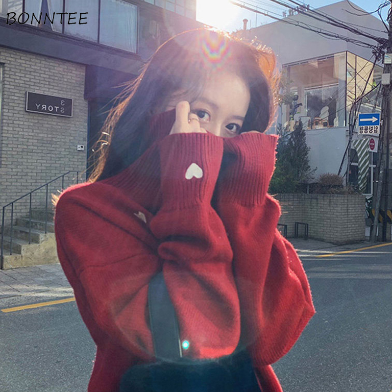 Turtleneck Sweater Women Printed Embroidery Simple Korean Style Harajuku Soft Warm Loose Students Streetwear Knitted Womens Chic