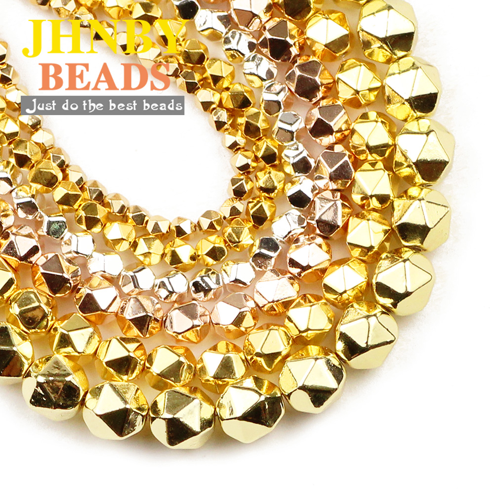 Natural Gemstone Hematite Faceted Rondelle Silver Rose Gold Spacer Beads 4//6//8mm
