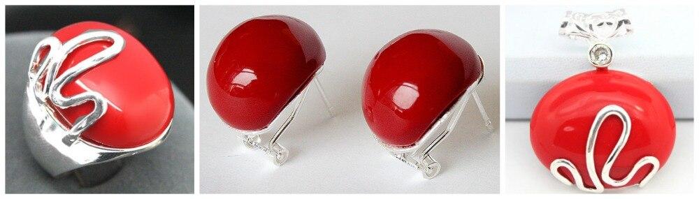Bague en argent Sterling 925 Marcasite en laque sculptée rouge assortie parfaite (#7-10) boucles d'oreilles et ensembles de bijoux Pandent