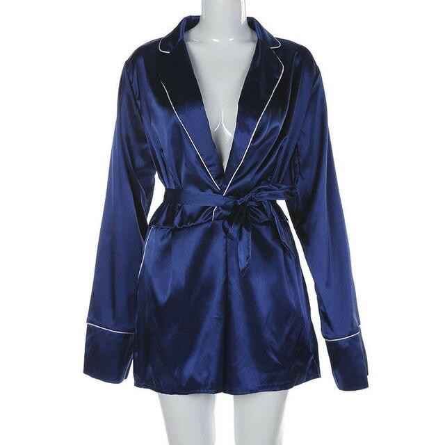 Women Sexy Satin Short Romper Jumpsuit Long Sleeve Clubwear Bodycon Playsuit Belts Bodysuit Party Body Clothes S-2XL 2020 New 5