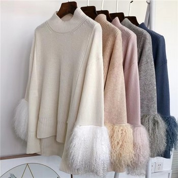 Womens Sweater 2020 Plus Size Loose Pullover Batwing Sweaters Top With Lamb Fur Sleeve Sweter Damski
