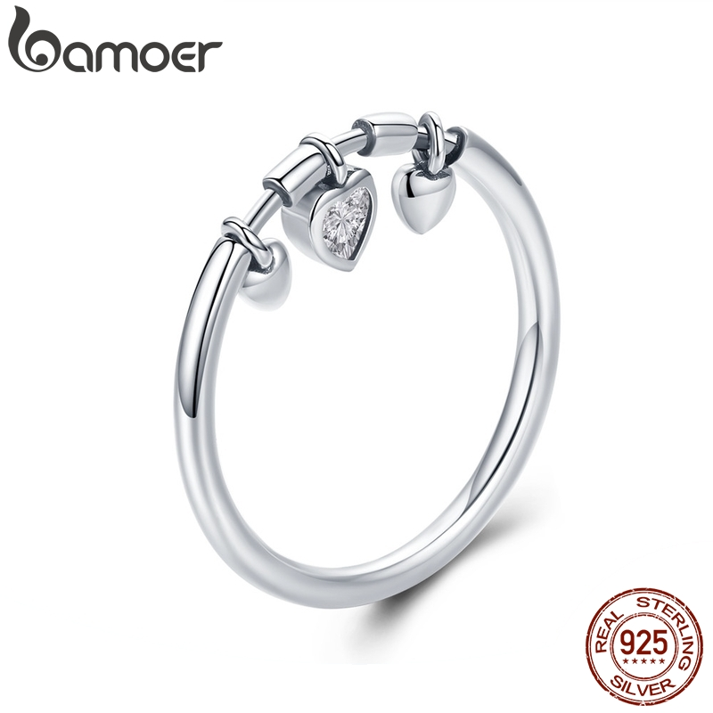 BAMOER 925 Sterling Silver Glittering Heart Clear CZ Anel Female Ring Women Wedding Engagement Jewelry SCR215(China)
