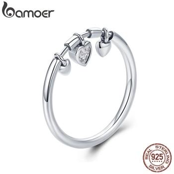 BAMOER 925 Sterling Silver Glittering Heart Clear CZ Anel Female Ring Women Wedding Engagement Jewelry SCR215