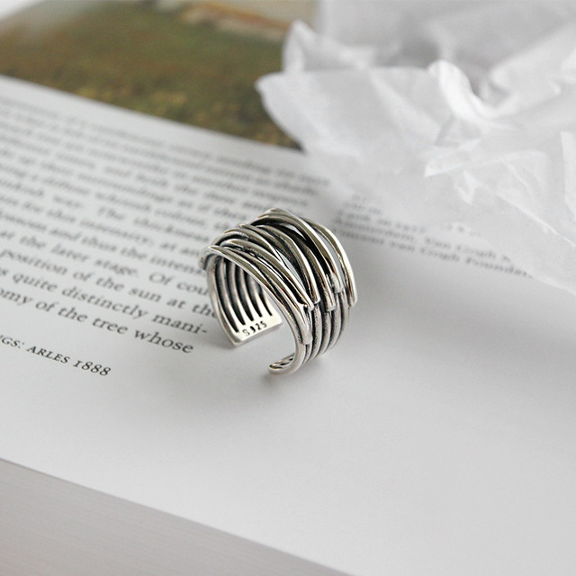 Anillos lineales Bijoux 2020 estilo Simple Color plata multicapa para regalos de mujer anillos de cadenas grandes