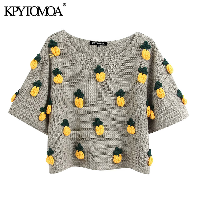 KPYTOMOA Women 2020 Fashion Pineapple Pattern Knitted Sweater Vintage O Neck Short Sleeve Female Pullovers Chic Tops