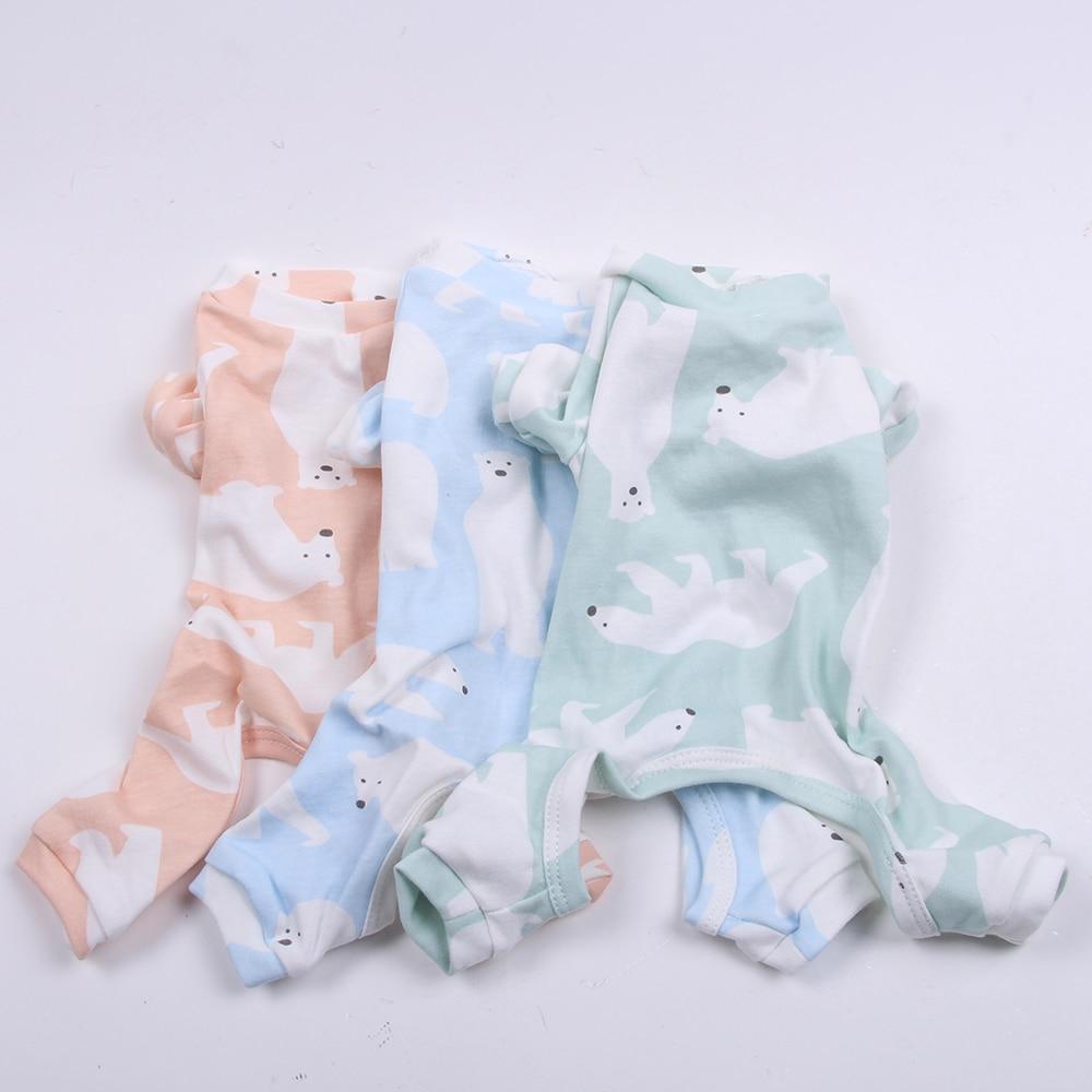 Pet Dog JumpSuit Pajamas 100% Cotton Polar Bear Cat Puppy Tracksuit Shirt Pants 5 Sizes 3 Colours