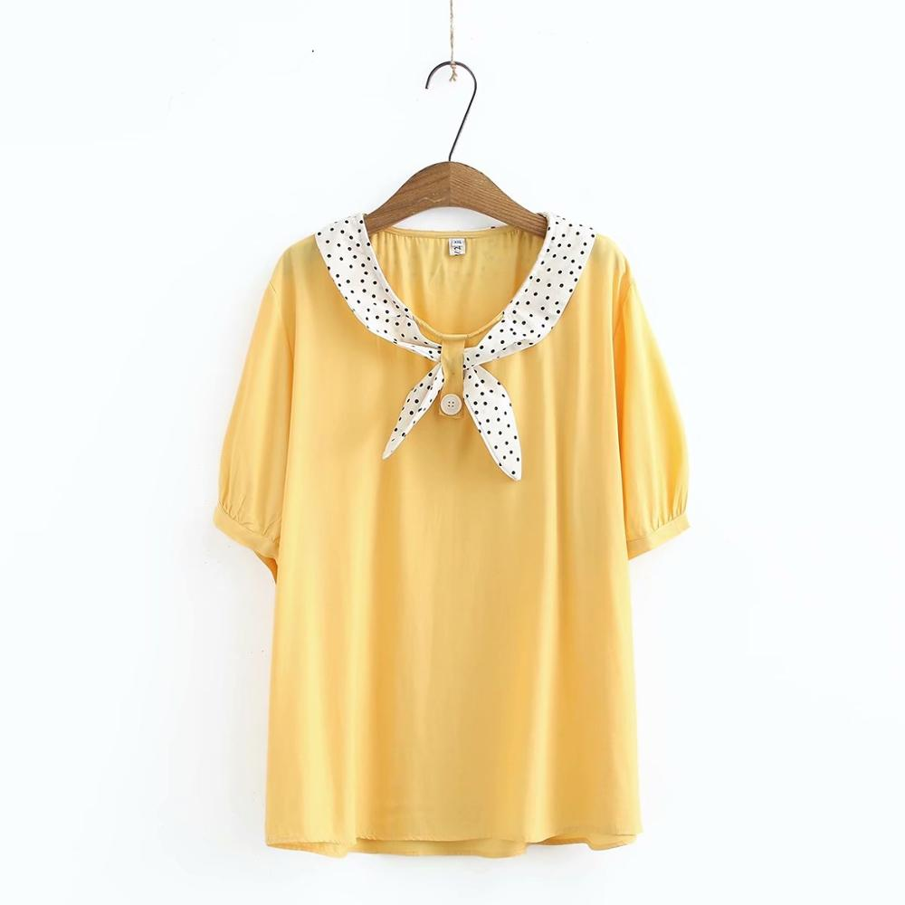 Plus size chiffon solid yellow black white green women loose tshirts 2020 new summer casual ladies soft t shirts female tops image