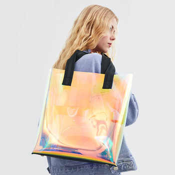 2019 Spring and Summer New Transparent Rainbow Shoulder Bag Tote Large Capacity Bag - DISCOUNT ITEM  24 OFF Luggage & Bags
