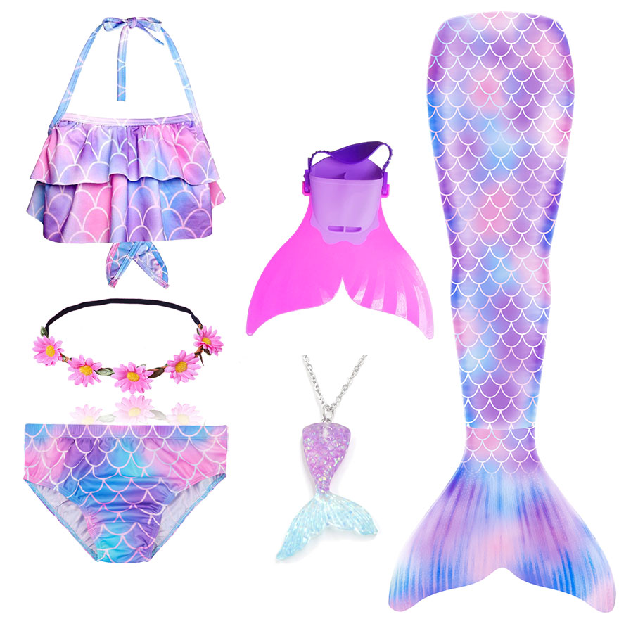H748689b85a054740b17bba8d8dd398015 - Kids Swimmable Mermaid Tail for Girls Swimming Bating Suit Mermaid Costume Swimsuit can add Monofin Fin Goggle with Garland