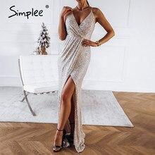 Simplee Sexy dekolt w serek zasznurować halter sukienki cekinowe na przyjęcie kobiety wysoka sukienka maxi z rozcięciem sukienka kobieta wakacje wieczór długa sukienka vestidos