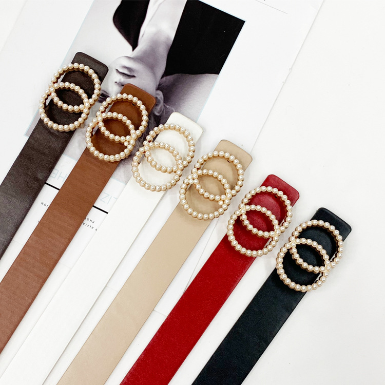 Leather Belt Women Waist Luxury Black Red Belts For Jeans Dresses Woman Pearl Studded Buckle Girls Ladies Fashion Decorative