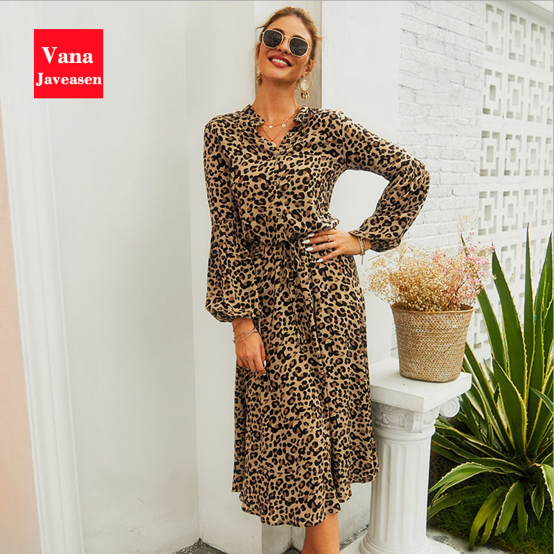 Office Lady Leopard Print Women Dress Autumn A-Line Beach Female Dresses High Waist Bandage Banquet Long Sleeve Womans Dress