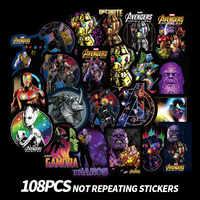108Pcs Del Fumetto Marvel Sticker Impermeabile per il Computer Portatile Moto Bagaglio di Skateboard Chitarra Furnitur Della Decalcomania Adesivi Giocattolo