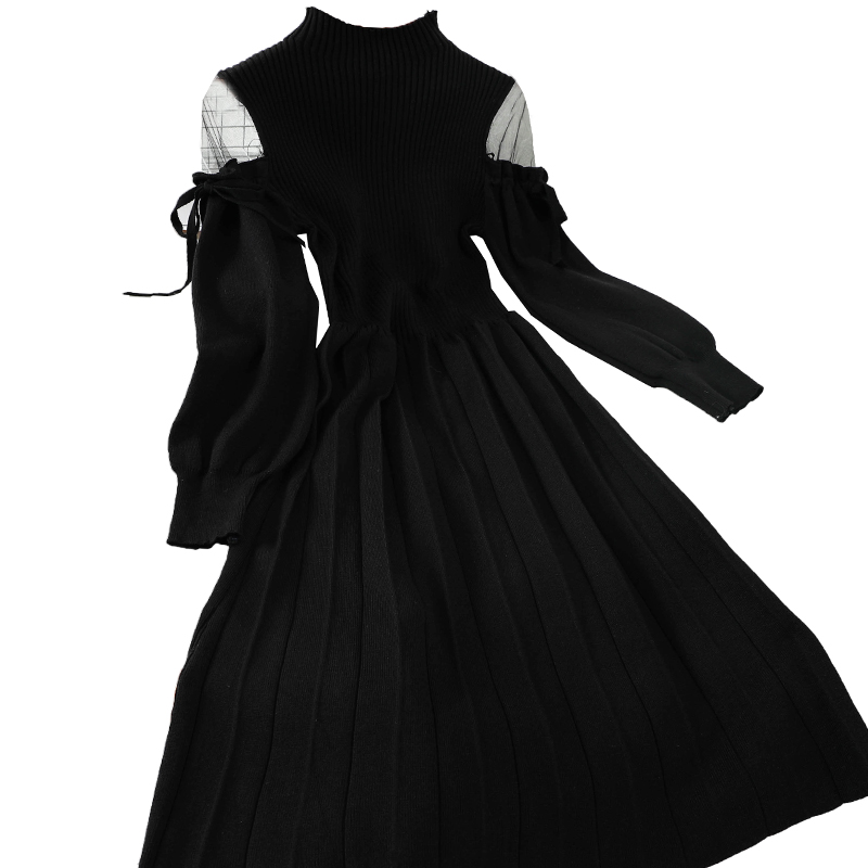 French Off Shoulder Pleated Knitted Long-sleeved Dress High Waist Victorian Dress Kawaii Girl Gothic Lolita Op Loli Cosplay