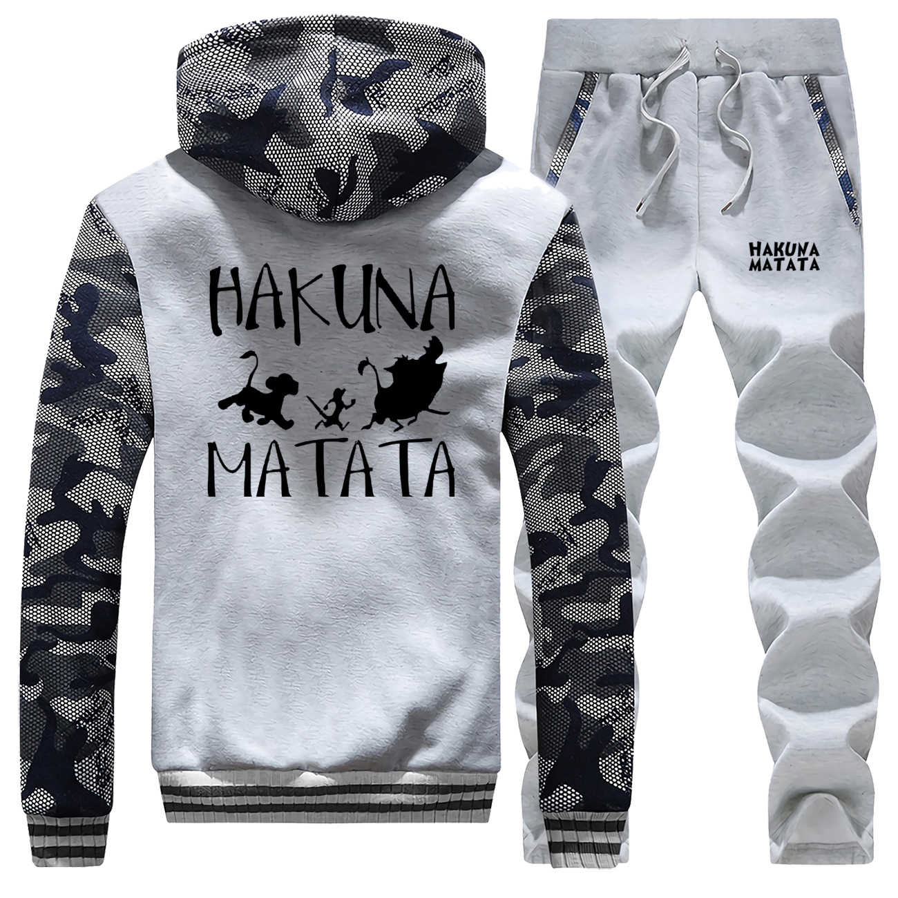Hakuna matata terno completo dos homens agasalho o rei leão casual camo conjunto velo grosso com capuz jaquetas inverno bodywarmer streetwear