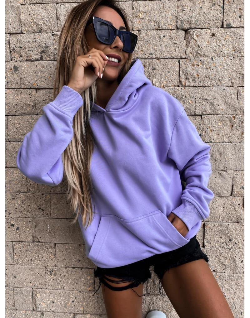 Sudadera de gran tamaño para mujer, sudaderas con capucha de color morado liso, Top con capucha para mujer, suéter holgado con bolsillos grandes para Otoño e Invierno