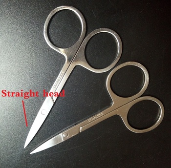 EasyNail 2pcs  New Mirror surface Straight Head Professional Cuticle Manicure Pedicure Nails Scissors,eyebrow,Nose,