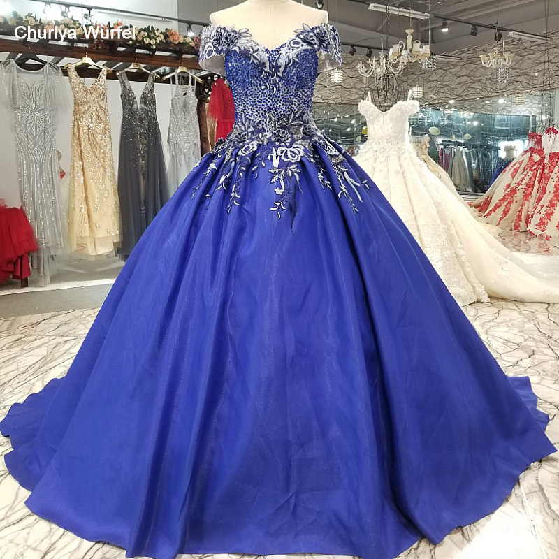 LS1099 Blue Off Shoulder A-line Evening Dress Short Sleeve Lace Up Back Satin Cheap Dress With Train For Sexy Mothers Of Brides