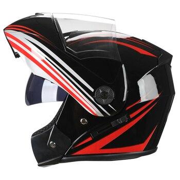 2 Gifts Unisex Racing Motorcycle Helmets Modular Dual Lens Motocross Helmet Full Face Safe Helmet Flip Up Cascos Para Moto kask 17