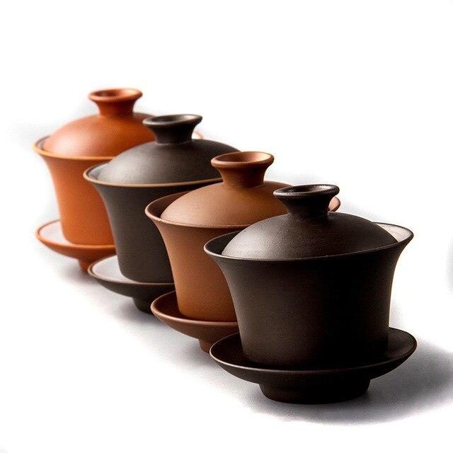Chinese Teaset Elegant Gaiwan Tea Cups Purple Clay Tureen 120ml Lid Bowl Saucer Zisha Tea Brew Tea Cup Drop Shipping