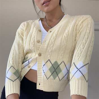 Women Sweater Tops Argyle Printed Sweater Cardigan Knitted Sweater Coat Vintage Jumper  Y2k Autumn  Women  V-Neck Casual Tops 2