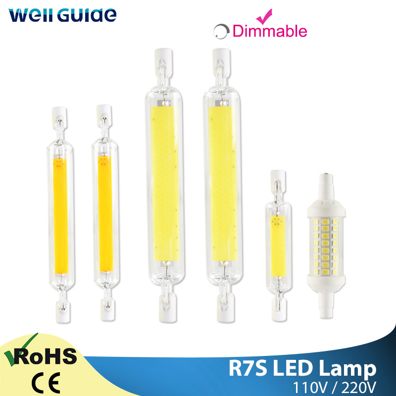 LED R7s Lamp COB Dimmable Light LED Bulb AC 220V 110V 78mm 118mm 135mm 2835 SMD Lamp Replace Halogen Light R7S Spotlight Bulb