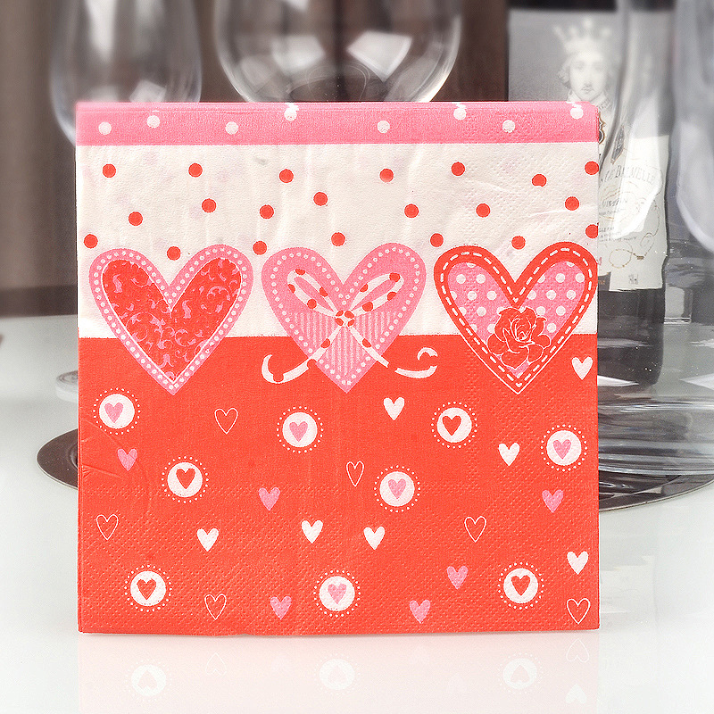 Heart Colored Napkin Red Calico Paper Wedding Banquet Cup Flower Hotel Paper Placemat Napkin A Generation Of Fat