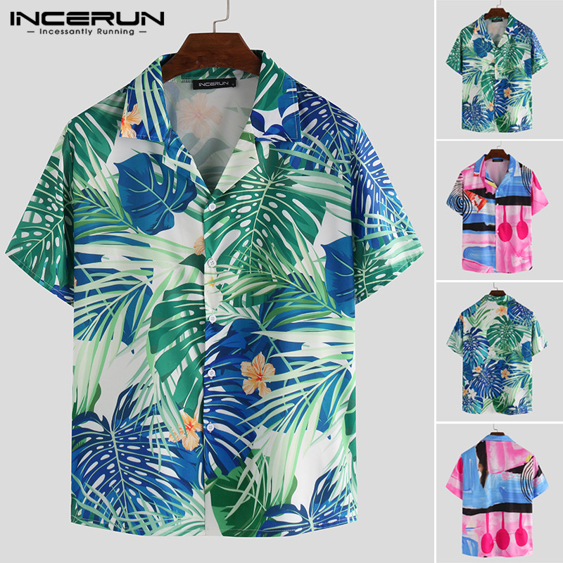 INCERUN Summer Fashion Men Casual Shirt Printed Short Sleeve Breathable Button Tropical Beach Shirts Lapel Camisas Hombre 2020 7