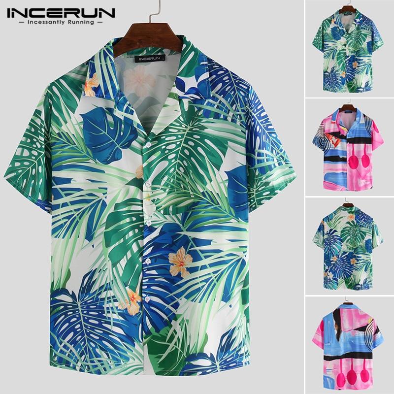 INCERUN Summer Fashion Men Casual Shirt Printed Short Sleeve Breathable Button Tropical Beach Shirts Lapel Camisas Hombre 2020 7