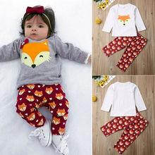 Одежда для маленьких девочек 0-24 месяцев; серый светильник с рисунком лисы; круглый вырез и красные брюки; комплекты для малышей