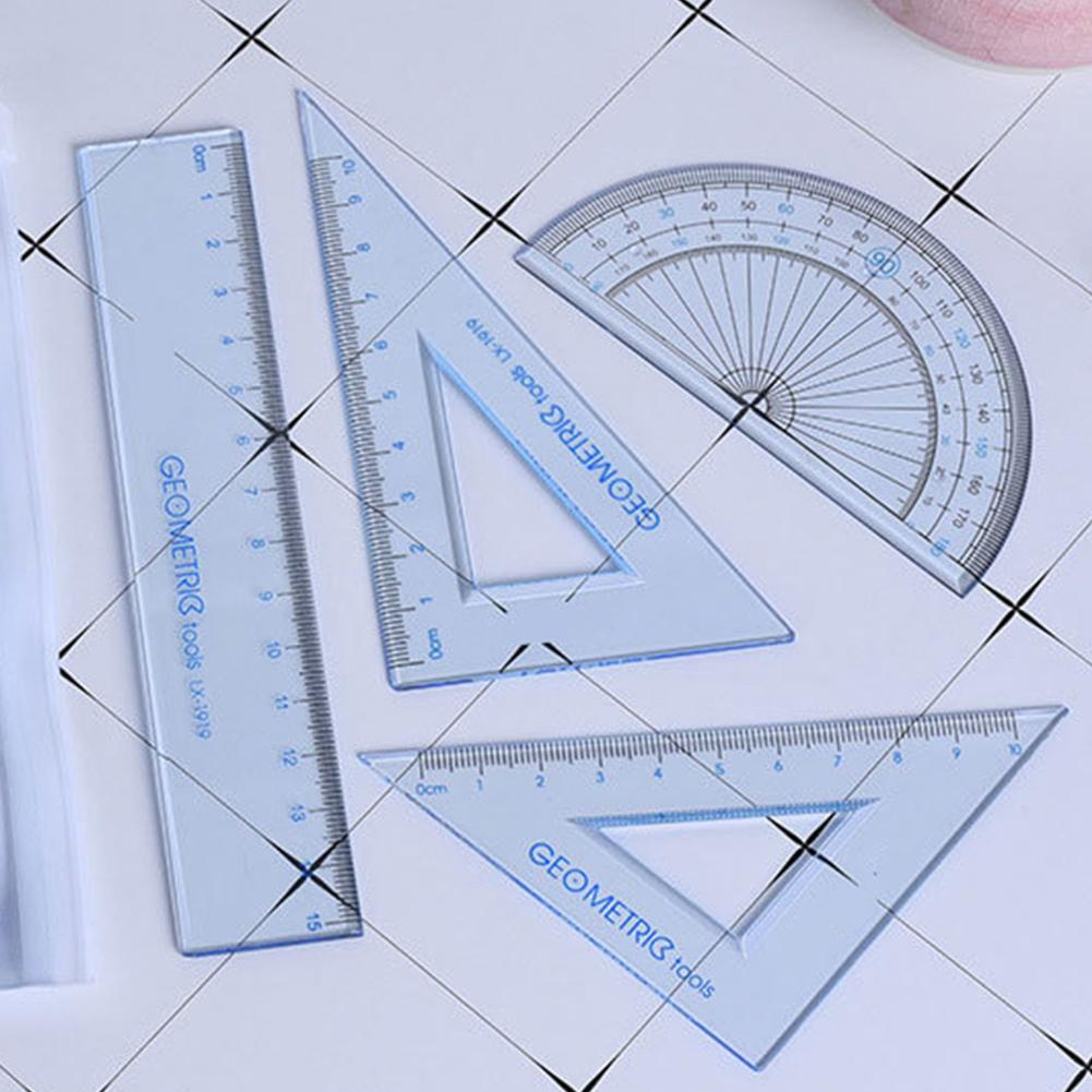 4pcs/set Protractor + Ruler Students Measurement Math Geometry Triangle Ruler Straightedge Protractor Drawing Measuring Tools