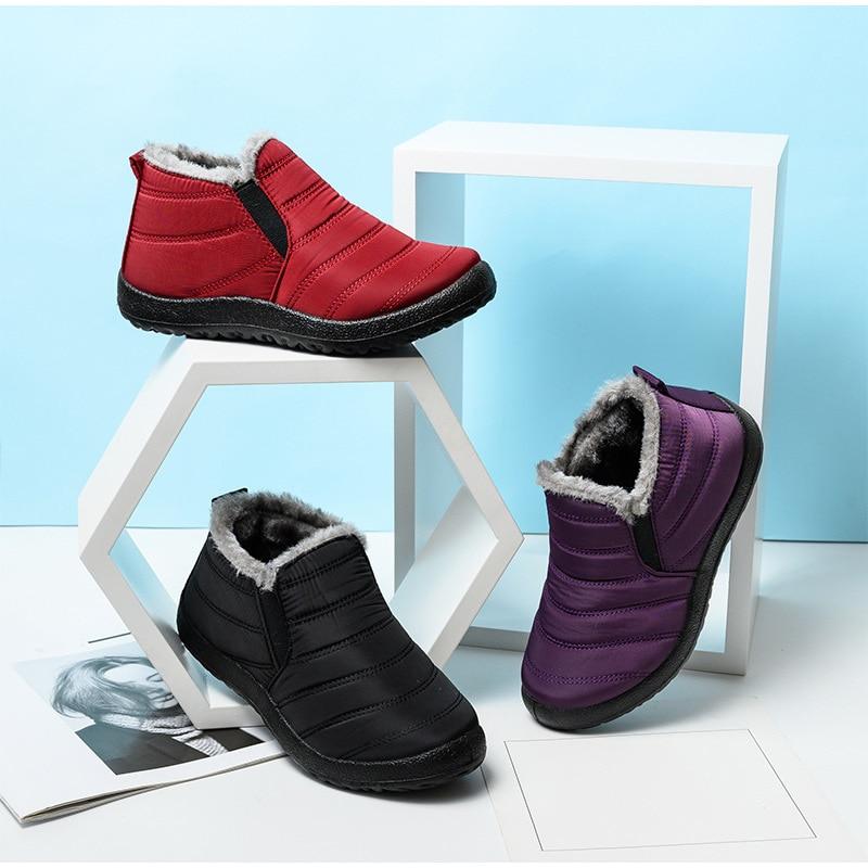 Snow Boots Women Shoes Warm Plush Fur Ankle Boots Winter Female Slip On Flat Casual Shoes Waterproof Ultralight Footwear 15