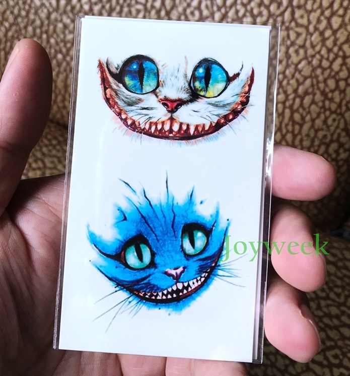 Temporary Tattoo Sticker Alice In Wonderland Cheshire Cat Ink Painting Watercolor Flash Tatoo Fake Tatto For Men Women