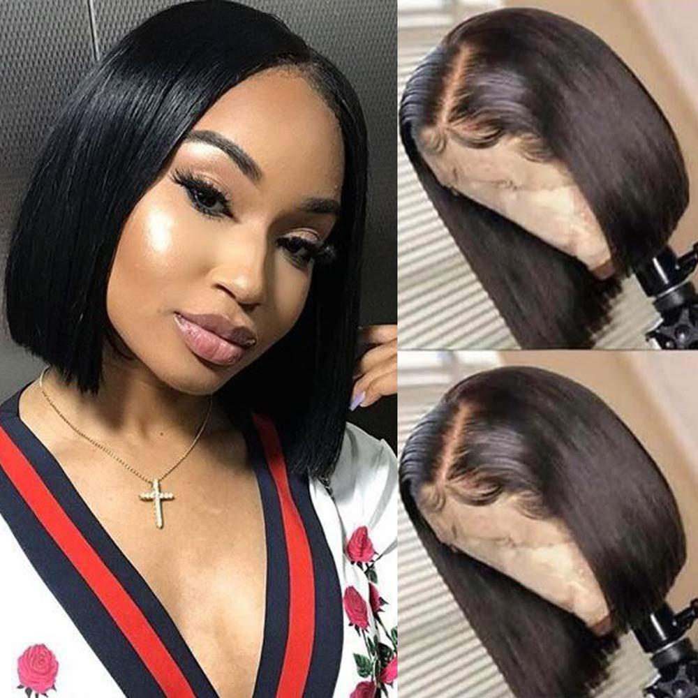 Short Bob 4x4 Silky Straight Silk Base Lace Front Human Hair Wigs  With Baby Hair Peruvian Remy 13x4 Lace Wig Bleached Knots