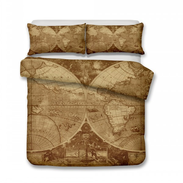 US $5.99 49% OFF Retro Style Skin friendly Soft Duvet Set Old World Map  Winter Comforter Cover Set Teens Adults Bedding Sets Bed Cover Home Decor  on ...