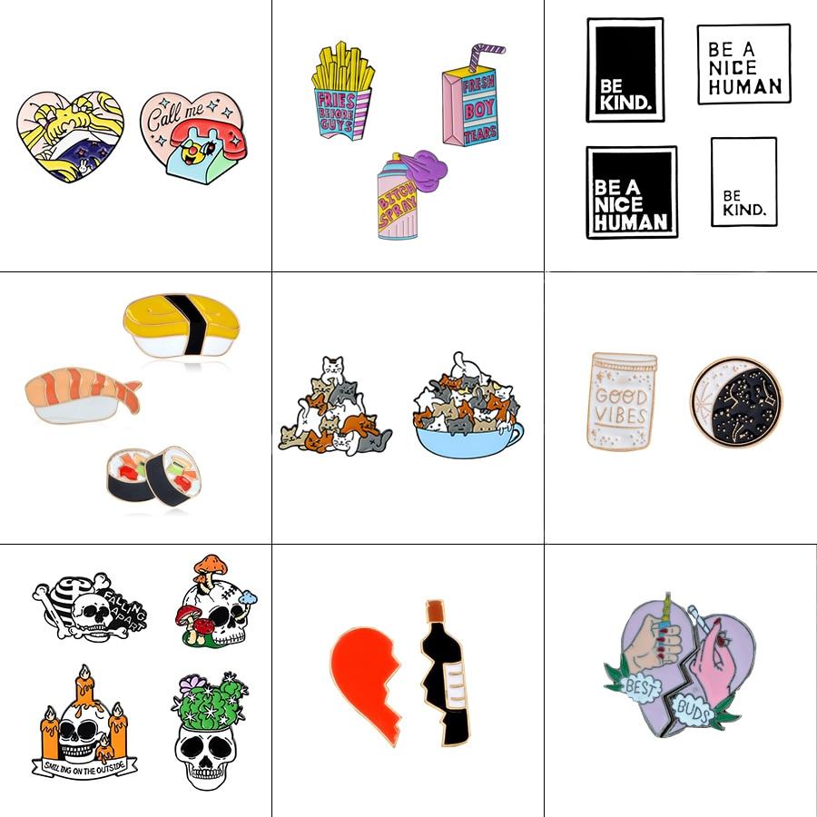 2-4pcs/set Sushi Broken heart Wine Bottle cat Skeleton be kind Spray Drink Animal Brooch Pin set Enamel Pin Badge Women Men