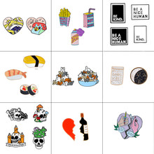 2-4pcs/set Sushi Broken heart Wine Bottle cat Skeleton be kind Spray Drink Animal Brooch Pin set Enamel Pin Badge Women Men