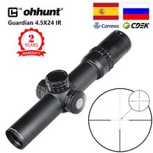 Ohhuntガーディアン 4.5 × 24 狩猟ライフルスコープ 30 ミリメートルチューブ戦術的な視力 1/2 ハーフミルドットレティクルタレットリセットライフル銃