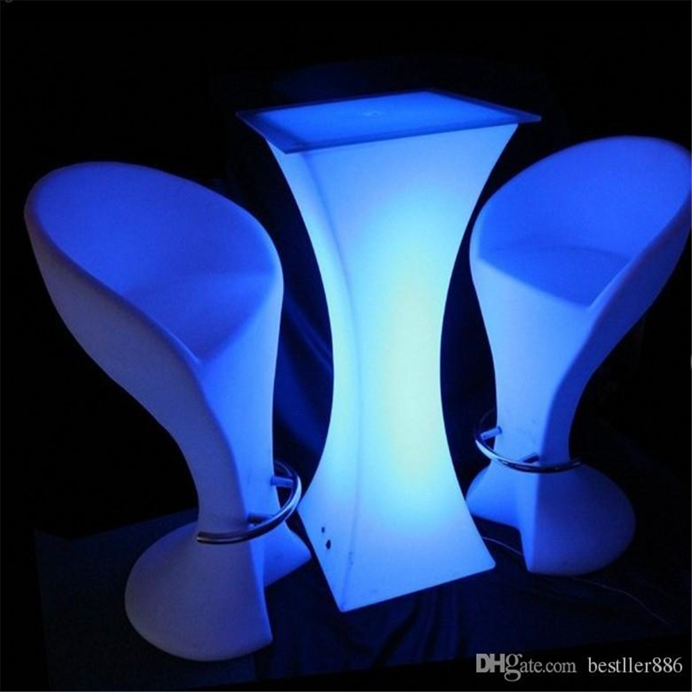 Image 2 - Rechargeable LED Luminous cocktail table waterproof glowing led bar table lighted up coffee table bar kTV disco party supply-in Coffee Tables from Furniture