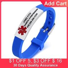 Medical Alert ID Bracelet For Kids Men Women Personalized Diabete ICE Silicone WristBand Type 2 Custom Engraved