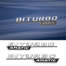 2 pçs frente do carro fender biturbo 4matic logotipo adesivo para mercedes benz amg glc gls gls gls gt e s classe carro tuning acessórios