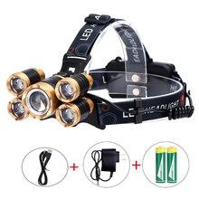 5LED Probe Light aircraft Light Waterproof Fishing Light Lithium T6 Outdoor Miner Light High Power Strong Light Headlamp