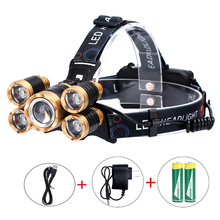 5LED Probe Light aircraft Light Waterproof Fishing Light Lithium T6 Outdoor Miner Light High Power Strong Light Headlamp