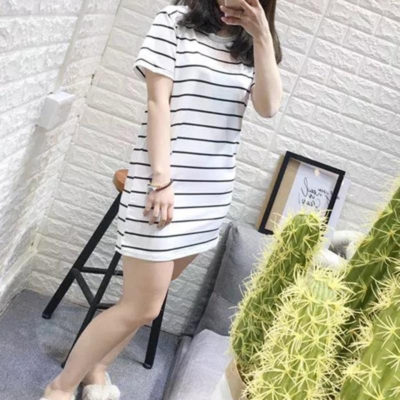 Пижамы, женская летняя ночная рубашка с коротким рукавом, длинная Корейская стильная свободная и домашняя одежда больших размеров для студентов