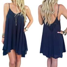 купить Chiffon Halter Dresses Summer Sexy Lady Spaghetti Strap V-Neck Navy Blue Thin Light Loose Female Mini Dress Women 2019 S-2XL D35 дешево
