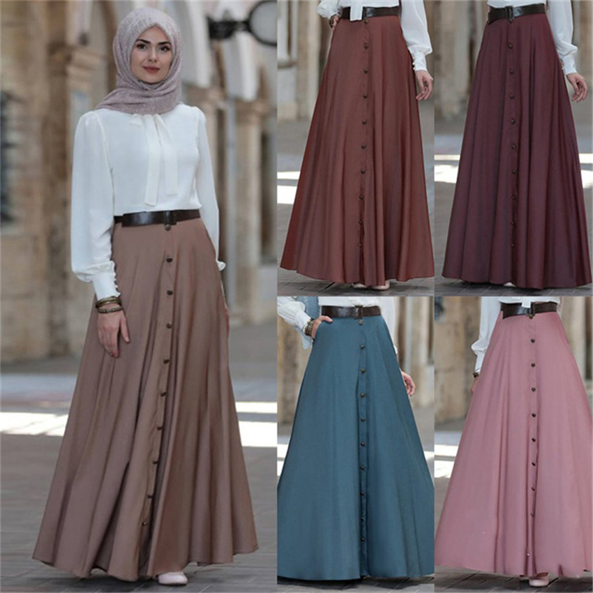 2019 Muslim Elegant Skirt Islamic Dubai A-Line Pleated Turkish Solid Half Dress Hight Waist Big Swing Buttons Party Wear